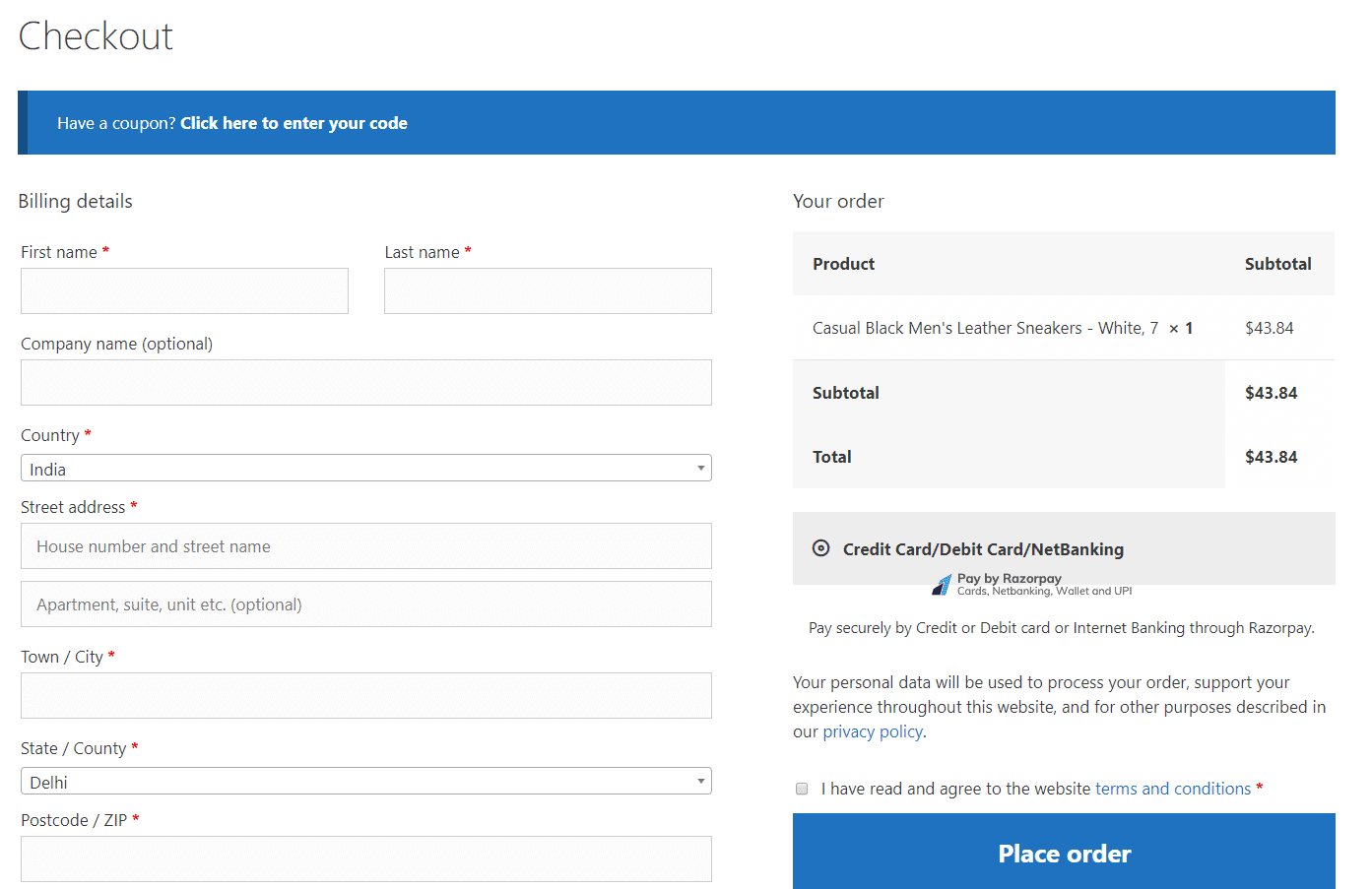Optimized checkout page.