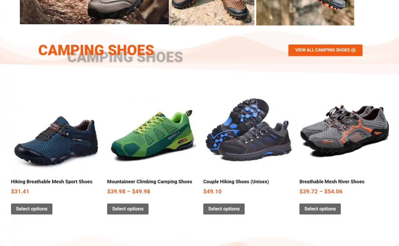 Types of shoes that are common for hiking and camping, seen at https://campingshoe.com/