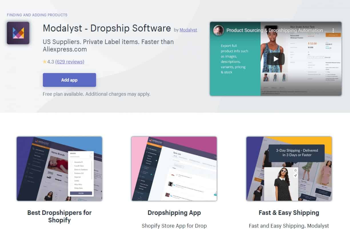 Modalyst- Best Dropshipping Apps with Shopify to Manage Inventory