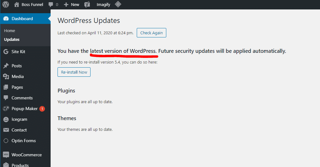 Upgrade your WordPress to latest version