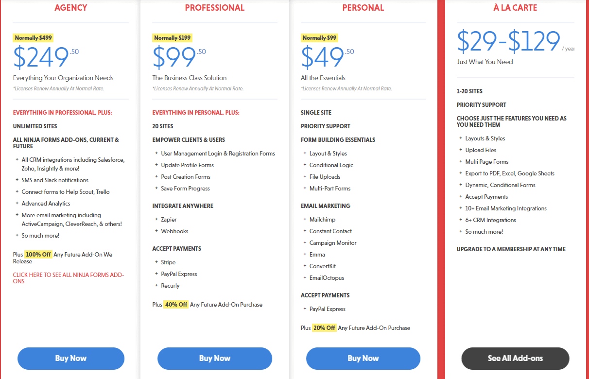 NINJA FORMS pricing