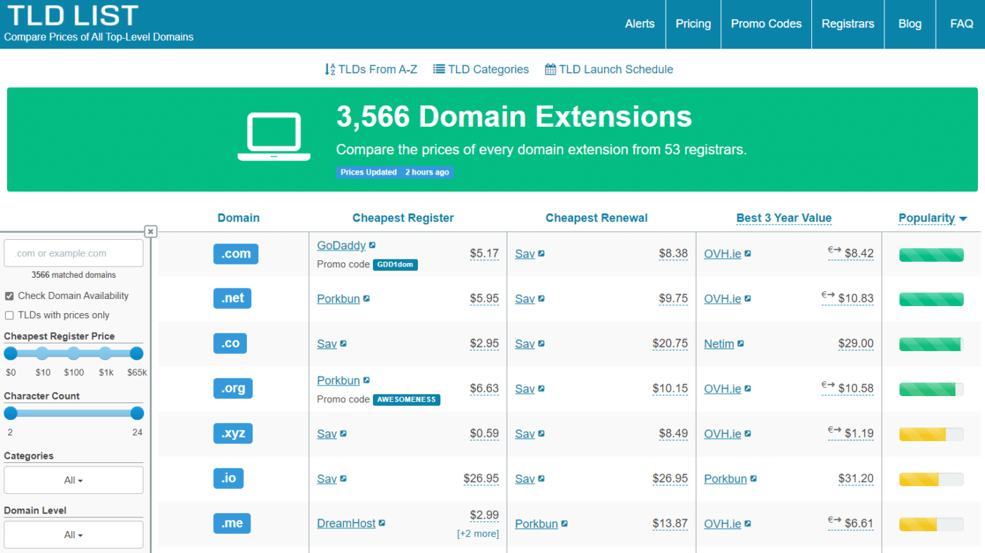 compare domain prices at tld-list.com